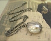 Smoke Gray Necklace Faceted Glass Solitaire Antiqued Silvertone Hawaiibeads