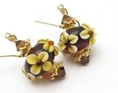 Lampwork Earrings Fall Flowers Topaz Brown Golden Yellow Dark Brown Swarovski Crystals Gold Vermeil 14kt Goldfill Autumn