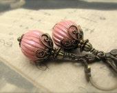 Vintage Bead Earrings, Rose Wedding Earrings, Bridesmaid Earrings, Rose AB Lucite Ribbed Beads, Hawaii Beads, Hawaii Wedding Jewelry