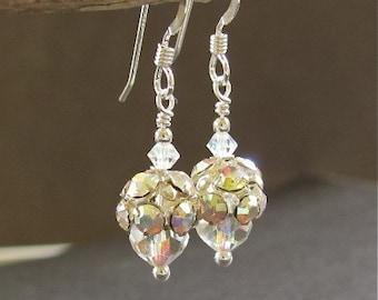 Vintage Crystal Earrings Vintage Swarovski Crystals Sterling Silver Wedding Jewerly Hawaii Beads