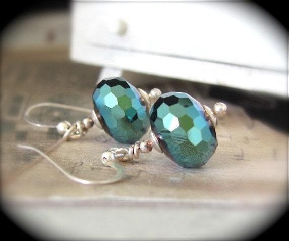 SALE Green Earrings Faceted Green Iris Sterling Silver Dangle Earrings Hawaiibeads