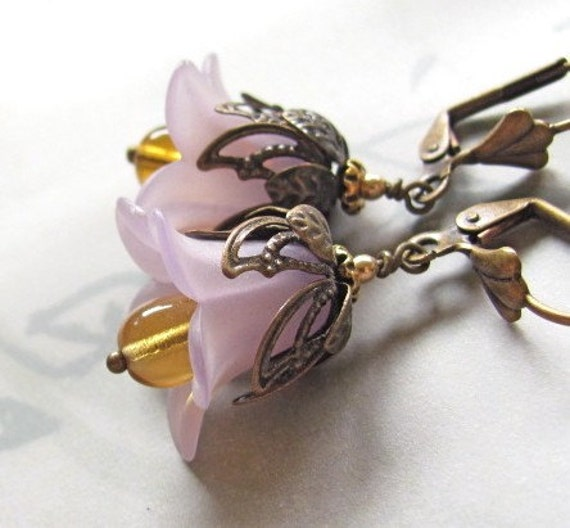 Purple Flower Earrings Purple Lucite Flower Golden Topaz Drops Hawaii Beads