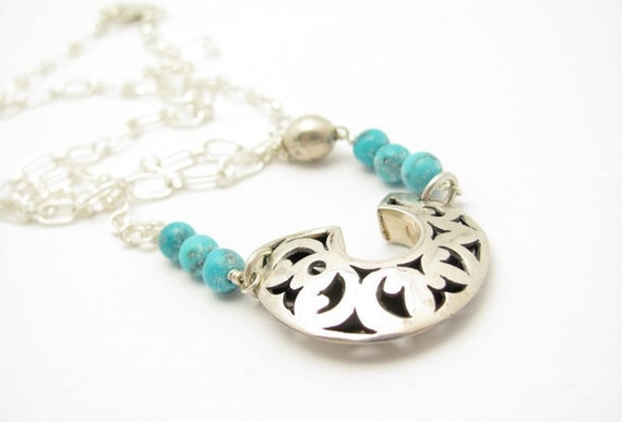Turquoise Necklace, Silver Necklace, Asymmetrical Sterling Silver Pendant Chain, Hawaiian Jewelry,Hawaiibeads Altered Art