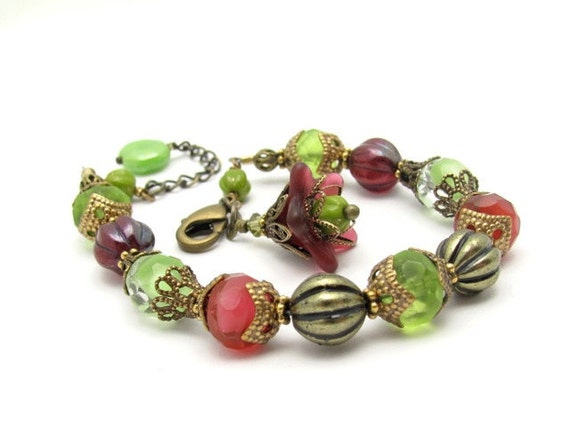 Flower Bracelet Cranberry Lime Glass Beads Flower Charm Vintage Glass Free Shipping