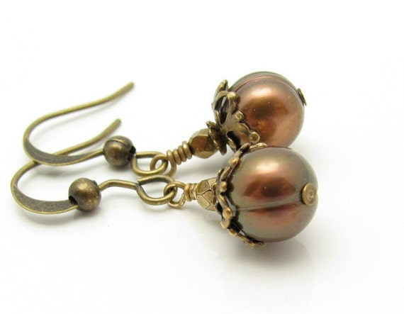 Pearl Earrings Bronze Pearls Faceted Glass Bead Petite Earrings Dangle Antiqued Goldtone