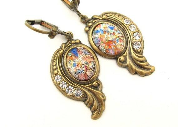 Earrings Foil Glass Crystal Rhinestone Ornate Steampunk Antiqued Goldtone Dangle Drops Vintage Victorian Style