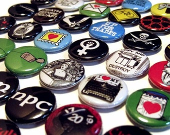 Choose 5 from over 80 designs - Buttons, Magnets, or Bottle Openers