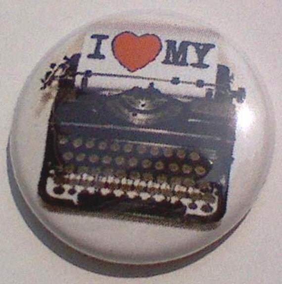 1 (HEART) my Typewriter 1 inch pinback button