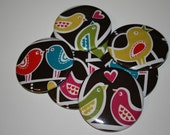 WEDDING FAVORS - lOve biRds on bRown button mirror - buy any 2 get 1 FREE