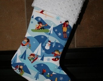BOY CHRISTMAS STOCKING - Snow Monkeys Holiday Stocking