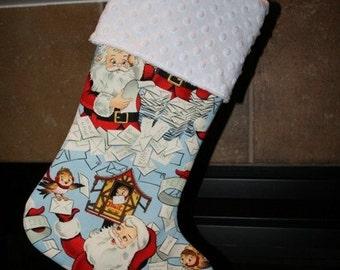 CHRISTMAS STOCKING for Men and Boys - Santa on Blue Christmas Stocking