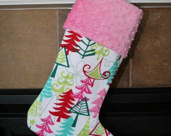AQUA Yule Trees Christmas Stocking for Women and Girls