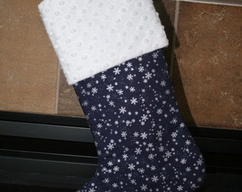 Snowflakes on NAVY blue Christmas Stocking