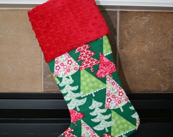 CHRISTMAS STOCKING - Trees on Green Christmas Stocking