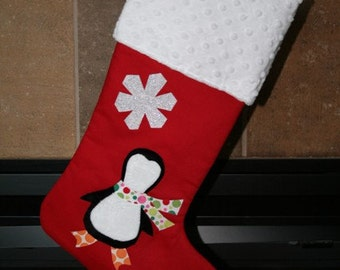 Penguin Christmas Stocking, Personalized Christmas Stocking, Custom Christmas Stocking,Holiday Stocking