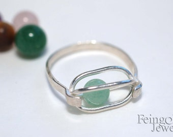 Gravity Collection: Sterling Silver Ring with Floating Aventurine (SIZE 5.5) - Free US Shipping