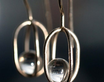 Gravity Collection: Sterling Silver Earrings with Floating Crystals - Free Domestic Shipping