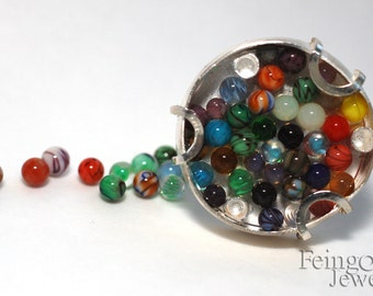 Gravity Collection: Sterling Silver Ring with Marbles (SIZE 7.5) Free Domestic Shipping