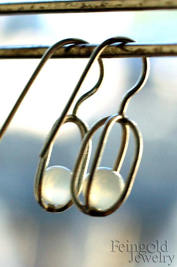 Gravity Collection: Sterling Silver Earrings with Floating Moonstones - Free Domestic Shipping