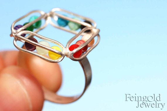 Gravity Collection: Sterling Silver Ring with 12 Glass Marbles - Rainbow- (SIZE 9) - Free US Shipping