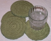 Sage Green Set of 4 Extra Thick Crocheted Coasters - Cork Lined -