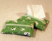 Tissue Holder - Vintage Kitten Print in Green