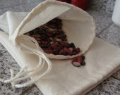4 Reusable  Drawstring Cotton Muslin Produce Bags