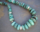 Super Chunky Turquoise, Pearl and Sterling Silver Necklace