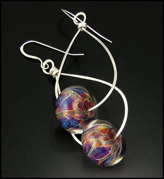 Violet Fire Colorful SRA Boro Lampwork Beads on Hammered Sterling Silver Earrings