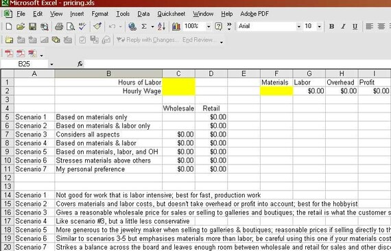 Jewelry Pricing Formula Calculator - 7 Scenarios - Easy to Use