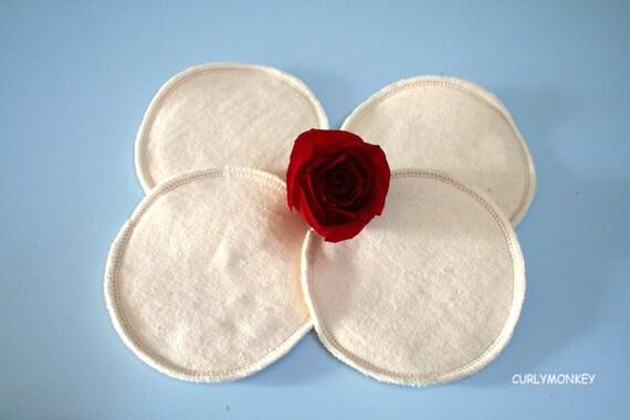 4 Organic Reusable Nursing Pads - Eco-friendly gift for new mom - Hemp Organic Cotton Fleece.