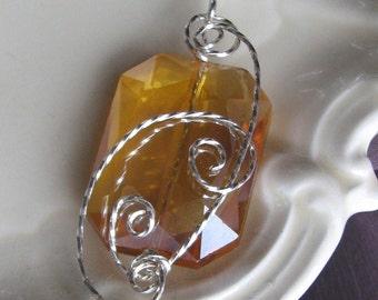 Topaz Cut Crystal Pendant