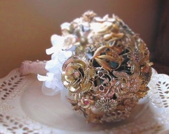 Blessing Bouquet - Gold - Vintage Brooch Bridal Bouquet  REDUCED