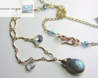 Labradorite necklace Rose Gold filled, scallop necklace, Mystic Topaz, Camp Sundance Gem Bliss