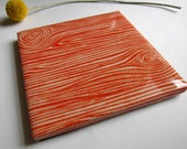 Faux Bois Orange Tile Coaster