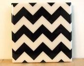 Chevron Stripes Black Tile Coaster