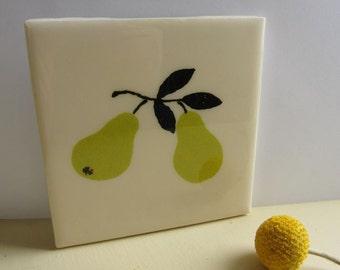 Modern Pears Tile Coaster