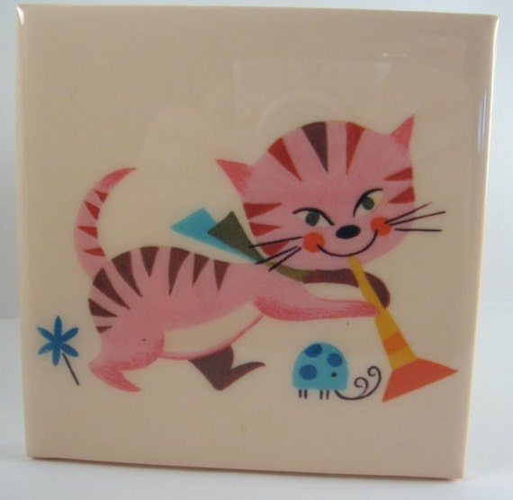Vintage Cat and Ladybug Tile Coaster