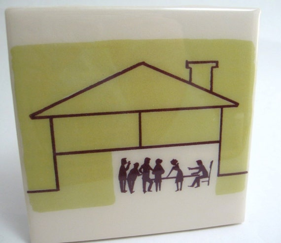 Modern House Party Tile Coaster