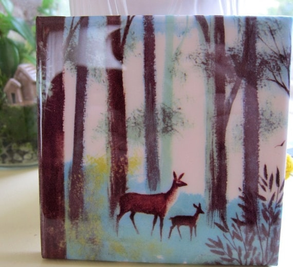 Doe and Fawn Tile Coaster
