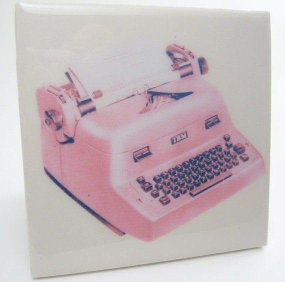 Vintage Pink Typewriter Tile Coaster