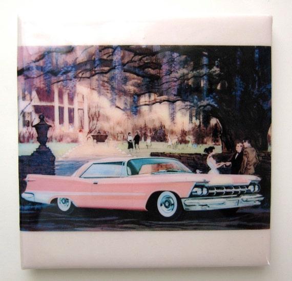 Pink Cadillac Tile Coaster