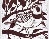 Horned Lark Linocut Print