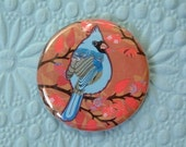 1.25 Inch Button - Fluke the Mutant Blue Cardinal