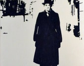 "Man On London Street  Black & White Acrylic Painting 8 x10"""