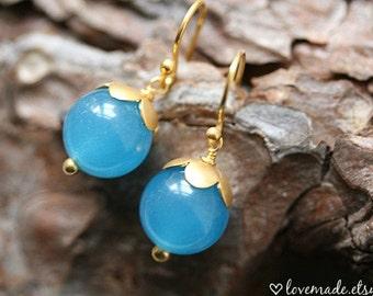 Aqua Blue Jade Earrings