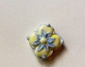 Butter Yellow and Cloud Blue Flower Lampwork Glass Bead by StudioMarcy