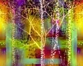 Bright Modern Urban Landscape - Spring City Nights - Ready to Frame Art Print - 11x14