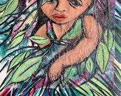 Portrait of a Child  - Little Girl Gauguin - Original Acrylic Painting - 11 x 14
