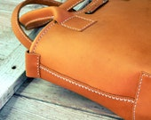 Camel Tote  Hand stitched small leather tote bag
